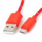 USB to Micro USB Sync Data Woven Mesh Cable for Google Nexus 7 / Nexus 7 II - Red
