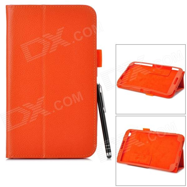 Protective PU Leather Case w/ Stylus Pen for Samsung Galaxy Tab 3 T310 / T311 - Orange protective pu leather case w stylus pen for samsung tab 3 7 0 t210 t211 p3200 p3210 orange