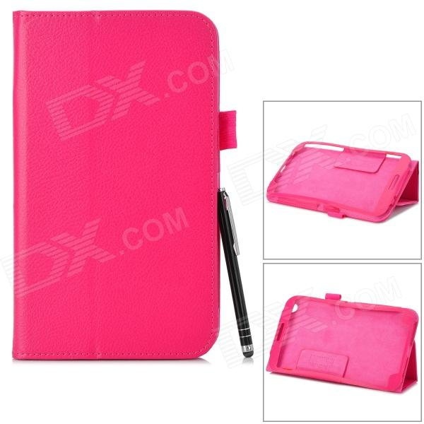 Protective PU Leather Case w/ Stylus Pen for Samsung Galaxy Tab 3 T310 / T311 - Deep Pink