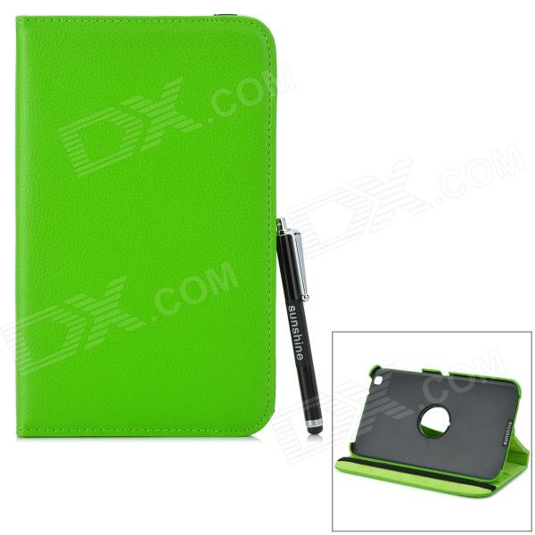 Protective 360 Degree Rotation PU Leather Case w/ Stylus Pen for Samsung Tab 3 T310 / T311 - Green levett caesar prostate massager for 360 degree rotation g spot