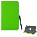 Protective 360 Degree Rotation PU Leather Case w/ Stylus Pen for Samsung Tab 3 T310 / T311 - Green