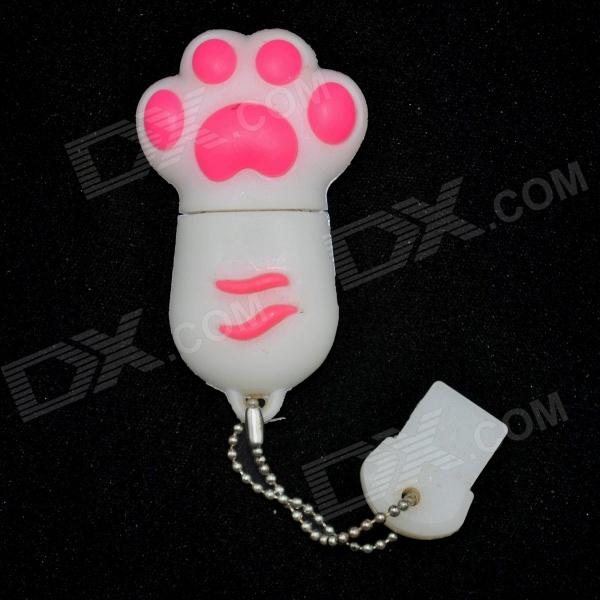 Cat Paw Style USB 2.0 Flash Drive - White + Red (4GB) penguin style usb 2 0 flash drive disk black white 4gb