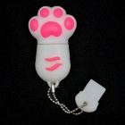 Cat Paw Style USB 2.0 Flash Drive - White + Red (4GB)