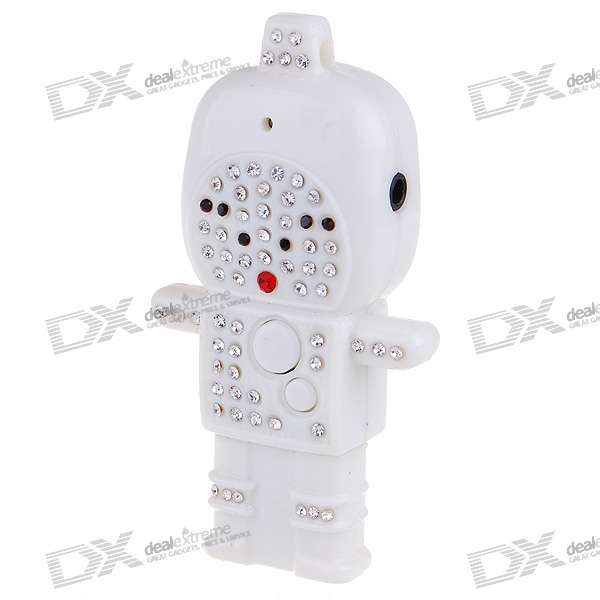 Cute Crystal Astronaut USB Flash/Jump Drive Rechargeable MP3 Player - White (2GB)