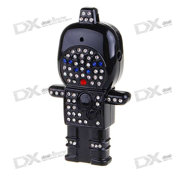 Cute Crystal Astronaut USB Flash/Jump Drive Rechargeable MP3 Player - Black (2GB)
