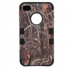 Bacillus Subtilis Pattern Protective PC + Silicone Back Case for IPHONE 4 / 4S - Brown + Black