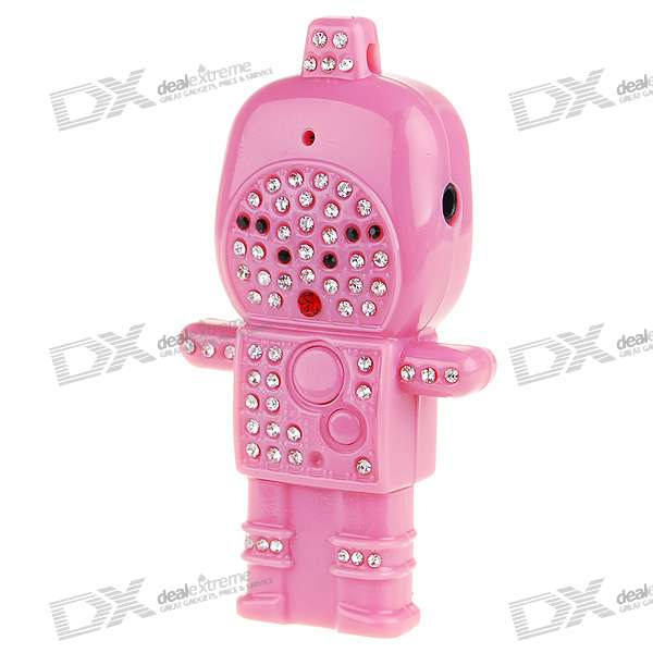 Cute Crystal Astronaut USB Flash/Jump Drive Rechargeable MP3 Player - Pink (2GB)