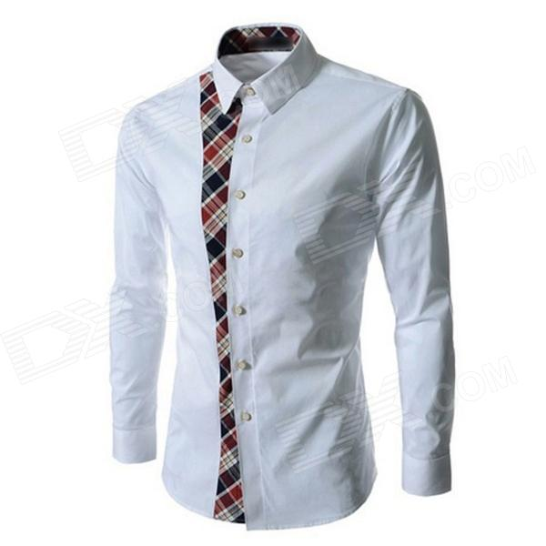Men Slim Plaid Trend Stitching Long-sleeved Shirt - White (XXL)