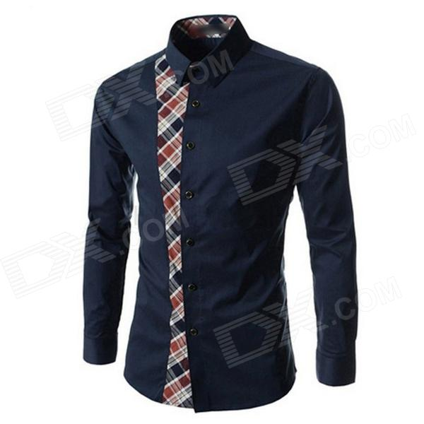 Men Slim Plaid Trend Stitching Long-sleeved Shirt - Navy (XXL)