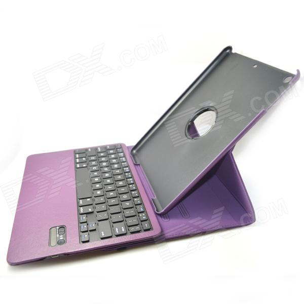 BK998 Bluetooth V3.0 65-Key Keyboard w/ Protective PU Leather Case for IPAD AIR - Purple