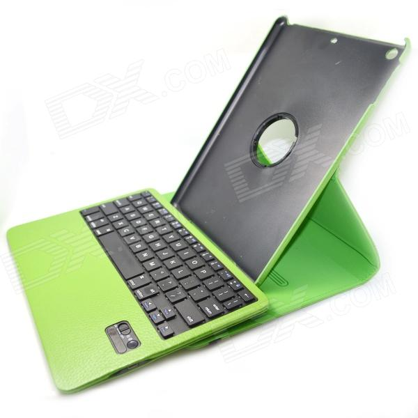 BK998 Bluetooth V3.0 65-Key Keyboard w/ Protective PU Leather Case for IPAD AIR - Green