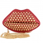 Fashionable Big Lip PU Leather Rivet Bag Shoulder Bag Messenger Bag - Red