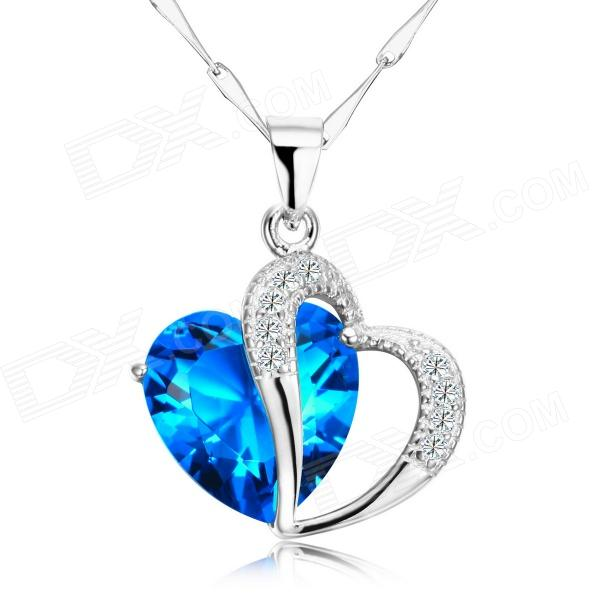 EQute Women's Elegant S925 Sterling Silver Heart Shaped Zirconia Pendant Necklace - Blue silver necklace jewelry hollow heart shaped pocket watch necklace pendant chain quartz watches clock women gift ll 17