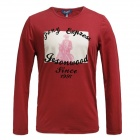 Lycra Cotton Long-sleeve T-shirt - Wine Red (XL)
