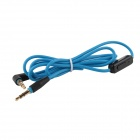 3.5mm Extension Audio Right-Angle Male to Male Cable w/ Microphone - Blue + Black (110cm)