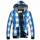 Men's Casual Grid Hooded Fleece Jacket Fit For Spring - Blue (XL)
