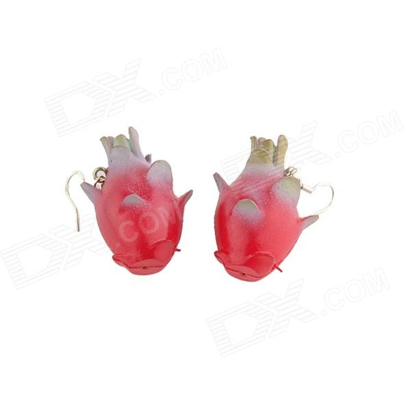Novelty Pitaya Style Pendant Earrings - Red (Pair)
