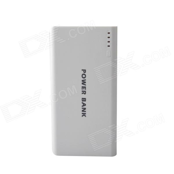 Portable Dual USB 20000mAh External Battery Power Source Bank for IPHONE + More - White + Grey 20000mah external battery power bank w usb woven cable for google nexus 7 ii blue white