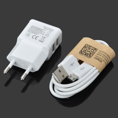 2000mA Dual USB AC Power Charger Adapter + Micro USB Cable Set - White