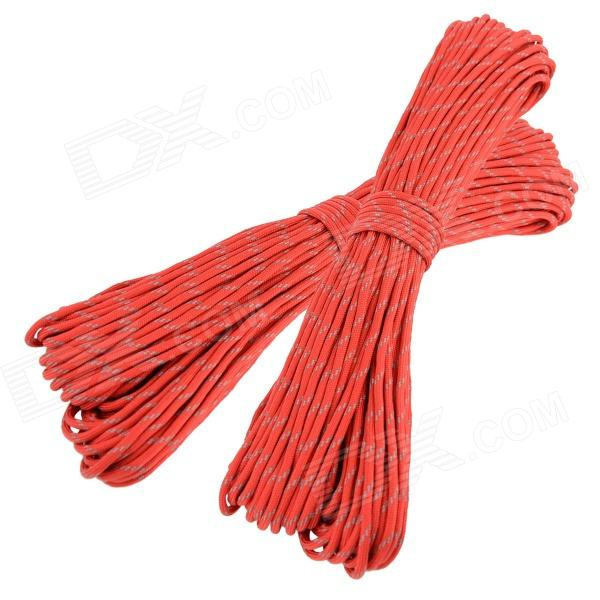 OUMILY Reflective Multi-Purpose Paracord Nylon Rope Cord - Reflective Red (2 PCS / 30M) oumily military army survival parachute rope khaki 30m 140kg 2 pcs