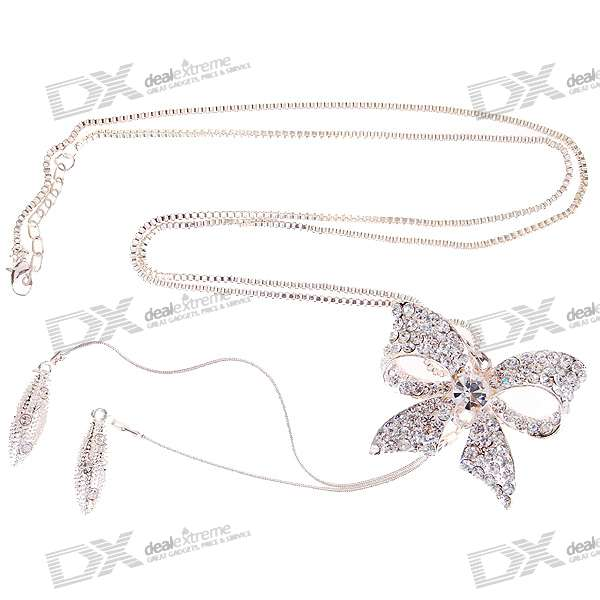 Liga de cristal bowknot Necklace (80CM-Length)