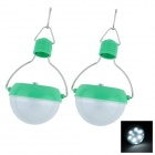 Water-proof Solar White 7-LED Power-saving Lamp 49lm 6000K - Green + Transparent White (2 PCS)
