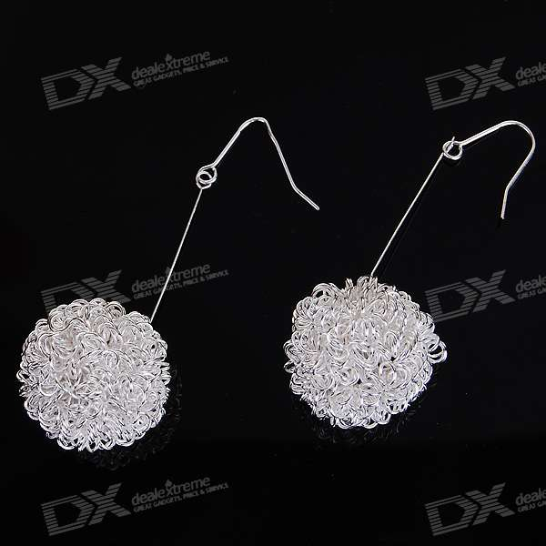 Silver Plated Snowball Earrings (Pair)
