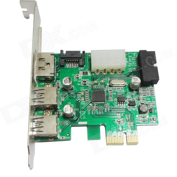 WBTUO LT303 PCI-Express 2-Port USB 3.0 + 20-PIN + Power ESATA Expansion Card for Desktop - Green 5 port usb 2 0 pci expansion card
