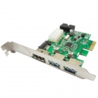 WBTUO LT303 PCI-Express 2 ports USB 3.0 + 20 broches + Power ESATA carte d'extension pour ordinateur de bureau - vert
