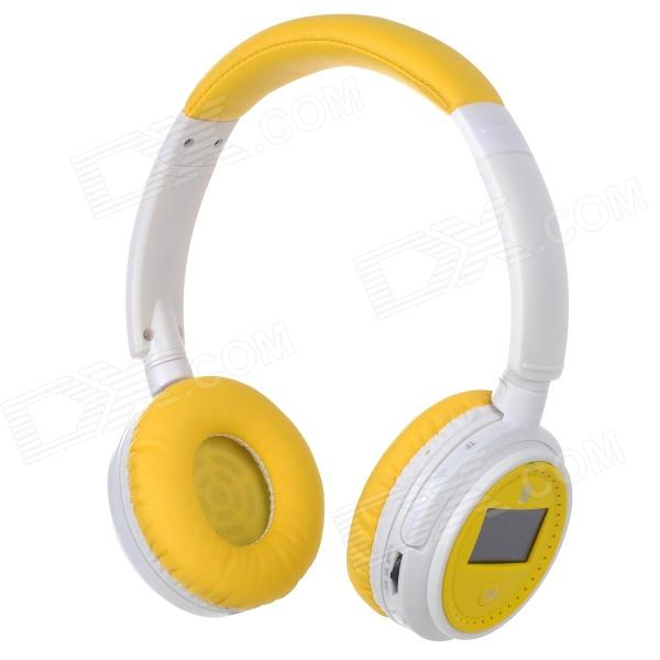 XF-228 1.3 LCD Bluetooth V2.1 Stereo Headphones MP3 Player w/ TF / FM / Mic - Yellow (Max. 16GB) sh s5 rechargeable sports mp3 player headphones headset w fm tf black
