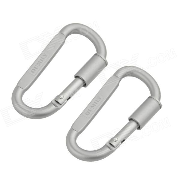 OUMILY Aluminum Alloy Screw-Lock Carabiner - Silver (2 PCS)