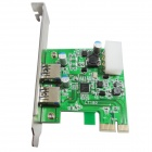 WBTUO LT-102 PCI-e 2-Port 5Gbps USB 3.0 Adapter (Deluxe Edition) Expansion Card for Desktop - Green
