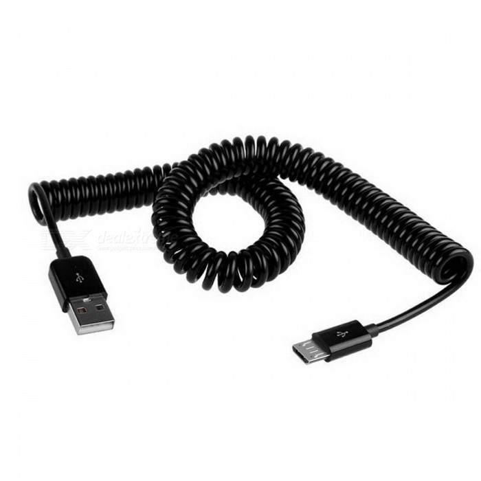 Flexible Spring USB 2.0 Male to Micro USB Male Data Sync / Charging Cable - Black (300cm)