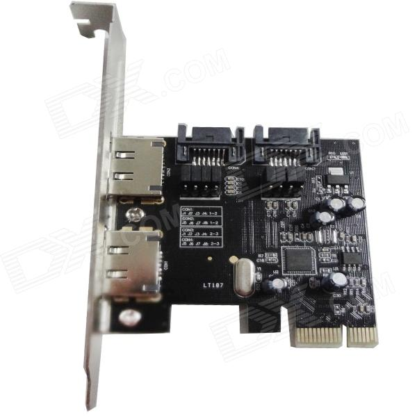 WBTUO LT-107 2 SATA 3.0 & 2 ESATA 3.0 2 Ports PCI-E Express Card Adapter Expansion Card - Black контроллер pci e sata ide 2 1 port sata raid jmb363 bulk
