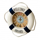 Fashionable Interior Decoration Life Buoy Wall Clock - White + Blue (1 x AA)