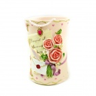 Flower Pattern Art Pen Container - Pink
