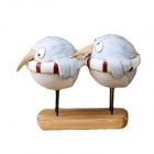 Creative Two Birds Ring Europe Type Resin Handicraft - White + Blue