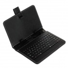 "Universal USB Wired 80-Key Keyboard PU Leather Case Stand for 7"" Tablet PC - Black"
