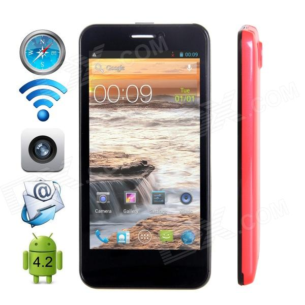 "CUBOT GT99 Quad-Core Android 4.2 WCDMA Bar Phone w/ 4.5""HD, Wi-Fi, GPS and Dual-SIM - Red"