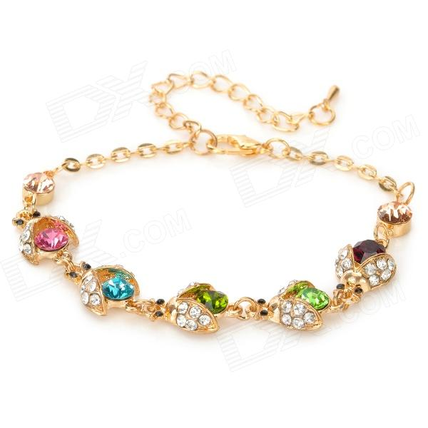 SHIYING C04409 Cute Ladybird Style Zinc Alloy + Crystal Bracelet - Golden + Green + Multicolor