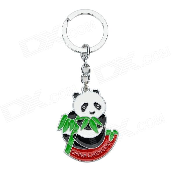xio-006 Bamboo Panda Style Keychain - White + Reed Green + Multi-Colored