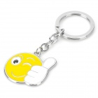 ZB-11 Thumb Up Gesture Stainless Steel Keyring - White + Yellow + Silver