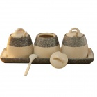 Marble Texture Ceramic Flavor Can / Seasoning Pot Set - White + Light Grey