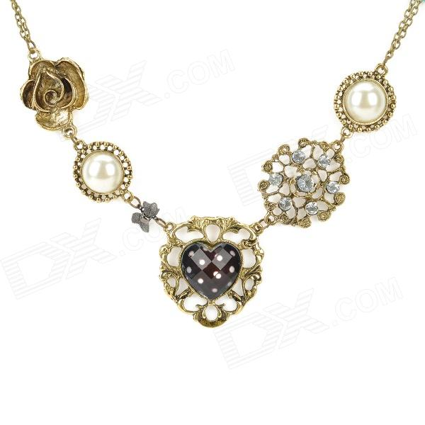 UBE UTY 7032 Stylish Women's Zinc Alloy Bead + Heart + Rosy Style Pendant Necklace - Bronze + White