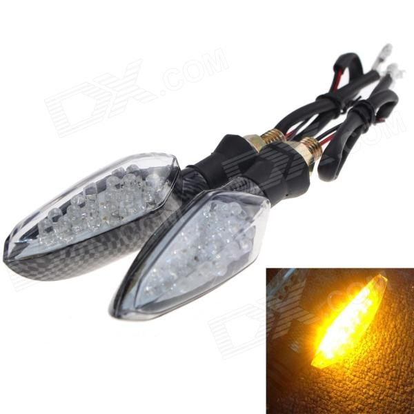 Imperméable 1W 112lm 16-LED jaune Lampe de direction de moto - (12V / 2 PCS)