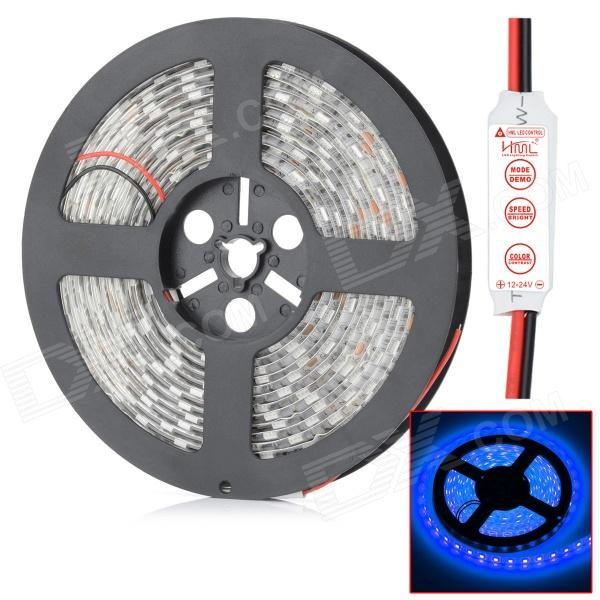 HML impermeável 72W 6300lm 300 x 5050 SMD LED azul Light Strip w / Mini Controller - (5V / 12V)
