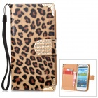 Leopard Pattern PU Flip-Open Case w/ Card Slot / Strap for Samsung i9300 - Black + Dark Brown