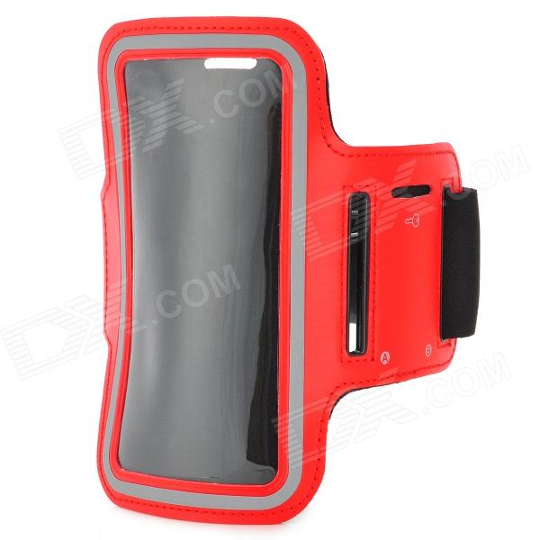 Sports Gym PU Leather Armband Case for HTC One X / M7 / Samsung S5 - Red + Black 3200mah backup battery case w holder for htc one m7 801e black