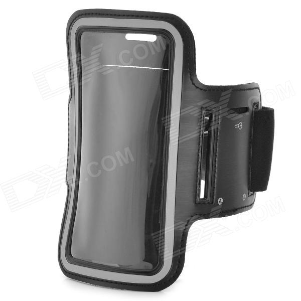 Sports Gym PU Leather Armband Case for HTC One X / M7 / Samsung S5 - Black 3200mah backup battery case w holder for htc one m7 801e black