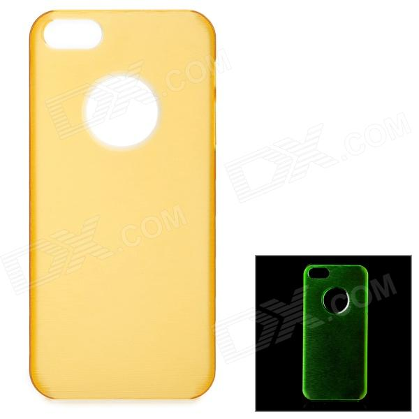 Ultra-Slim Matte Glow-in-the-Dark Plastic Back Case for IPHONE 5 - Yellow glow in the dark relief letters skull style protective plastic back case for iphone 5 black